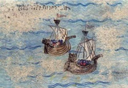 Navios templários, possivelmente portugueses. Gravura francesa do século XIV.
